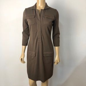 Boston proper brown reverse button collar dress